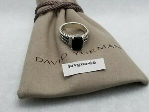 David Yurman Sterling Silver Petite Black Onyx & Diamond Wheaton Ring Size 8