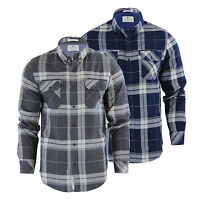 Mens Check Shirt Crosshatch Mitty Cotton Collared Long Sleeve Casual Top
