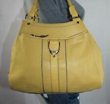 COLE HAAN Large Yellow Leather Shoulder Hobo Tote Satchel Slouch Purse Bag