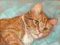 BCB Orange Tabby Cat Resting on a Quilt Print of Painting ACEO 2.5 x 3.5 Inches