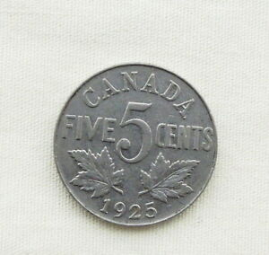 1925 Canadian George V Five Cent Rare Date