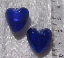 Lot 4 perles galets verre mauve soufflé lampwork pastilles violine 14x8mm *L255