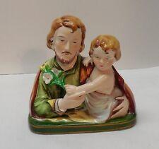 St Joseph and Child Jesus Holding Flowers Porcelain Figurine Vintage