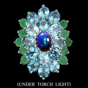Round Black Opal 7x5mm Emerald Swiss Blue Topaz 925 Sterling Silver Ring 9.5