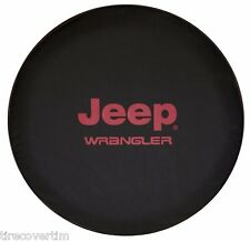 SpareCover Brawny Series - RED Jeep Wrangler logo 30 Tire Cover Black DenimVinyl