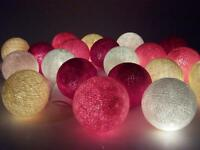 Guirnalda de luces, bolas de algodón, , 20 bolas grande, diametro 7cm, L280cm