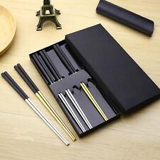 High Quality Black Head Non-slip 304 Stainless Steel Korean Chopsticks Tableware