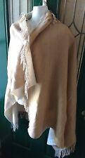 Women's S M L Camel Poncho Fringed Wool Blend Blanket Sweater Fringe Tan Beige