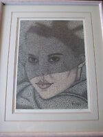 CRACKLE DRAWING WOMAN PORTRAIT LTD LITHOGRAPH PRINT W/FRAME, SIGNED BY ROBERT