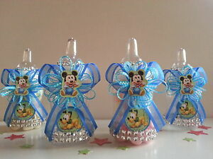 12 Baby Mickey Mouse, Baby Pluto  Fillable Bottles Baby Shower  Boy Decorations