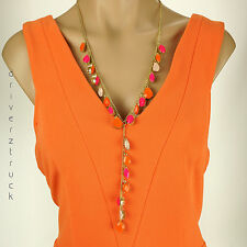 """SIMPLY VERA WANG New! GOLD Tone Faux GEMS """"Y"""" NECKLACE ORANGE Light & Hot PINK"""