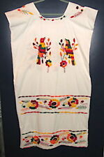 New listing Pueblo Dress Large White Muslin Hand Embroidered Flowers Parrots Native Latin