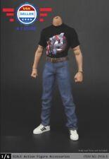 ZY toys 1/6 Captain America Graphic T Shirt Jeans Belt Set for 12'' MALE Figure