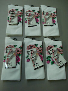 NWT Women's Hue Comfort Top Ultrasmooth Socks One Size 6 Pair White Floral #817E