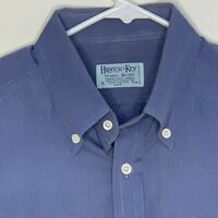 Hilditch & Key Mens Designer Shirt LS Blue Large