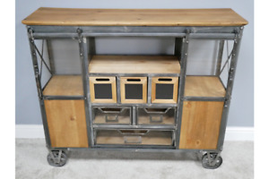 Industrial Cart Style Wheeled Multi Use Storage Cabinet - Cupboards & Drawers