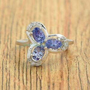 Oval Cut Purple Tanzanite Gemstone 925 Sterling Silver Flower Ring Size US 4-8