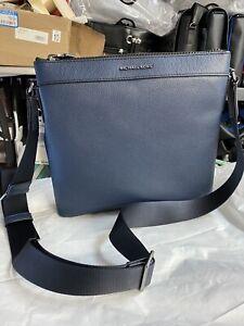 Michael Kors Men's Cooper Navy Pebbled Leather Large Messenger Crossbody Bag