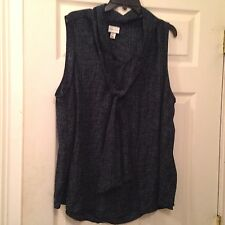 Ava Viv 2X  Blouse Shirt Tunic Geometric Bow Tie Career Work Casual Teal Blk  2D