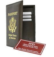 Black RFID Blocking Leather Passport Cover Travel Wallet ID Card Holder