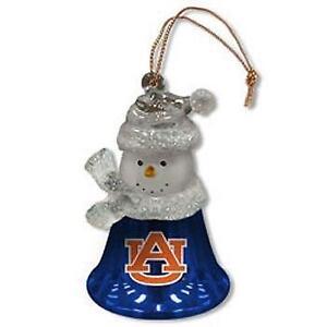 """Auburn Tigers 2.5"""" Snowman Bell Ornament"""