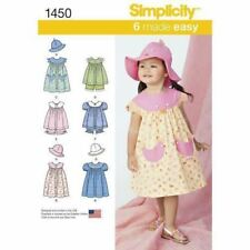 Simplicity Sewing Pattern 1450 SZ 1/2-4 Toddlers Dress Pinafore Top Panties Hat