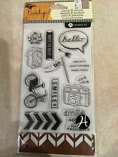Hampton Art Clear Acrylic Stamp & Stencil Set Greetings Vintologie SCO641 NEW