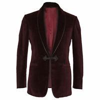 Men Burgundy Smoking Jacket Designer Wedding Groom Dinner Party Blazer Coat UK