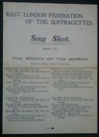 SUFFRAGETTE SONG SHEET , EAST LONDON FEDERATION OF THE SUFFRAGETTES