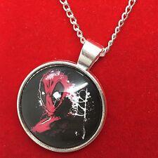 925 Silver Plt Cabochon Deadpool (2) Pendant Necklace Ladies Girls  Gift Marvel
