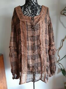 Bohemian Traders Size 3 XL Sheer Long Sleeved Button Front boho style Blouse