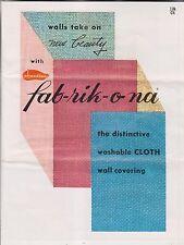 CIRCA 1957 BROCHURE - FAB-RIK-O-NA - CHANDLER MFG CO EAST TAUNTON MA