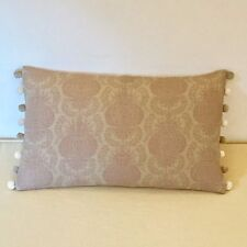 """NEW Kate Forman Margot Mauve Linen Fabric 20""""x12"""" Pom Pom or Piped Cushion Cover"""