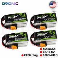 4X Ovonic 4S 14.8V 1550mAh 100C RC Lipo Battery XT60 Plug for 250 FPV Freestyle