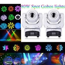 2PCS 80W RGBW Stage Light Gobos Spot LED Moving Head DMX DJ Disco Lighting