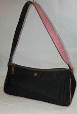 KATE SPADE  Black Nylon/Pink Snakeskin Embossed Leather Trim Mini Hobo