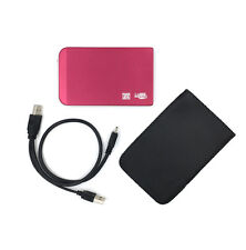 "Red 500GB External Portable 2.5"" USB Hard Drive HDD With Warranty Free Pouch"
