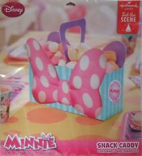 Party Snack Caddy Disney MINNIE MOUSE Bow Handle Treat Box Bowl Birthday Supply