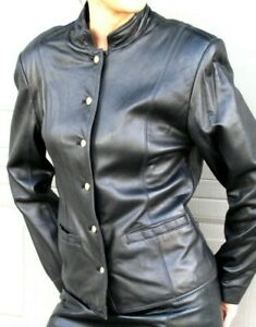 SLEEK  LORD TAYLOR  BLACK  LEATHER   SUIT -  JACKET  and PANTS