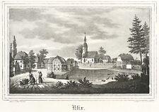 KLIX (GROßDUBRAU) - Dorfkern mit Kirche - Kirchen-Galerie - Lithografie 1840