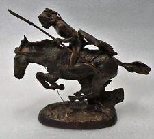 "Frederic Remington ""Cheyenne"" Indian Warrior Small Bronze Sculpture Replica"