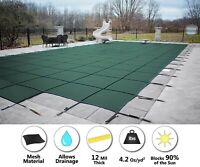 GLI Secur-A-Pool Green Mesh Rectangle Swimming Pool Safety Cover - (Choose Step)