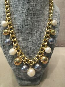 Modern Necklace Gold Tone with multi dangle beads- gray, gold, white NICE