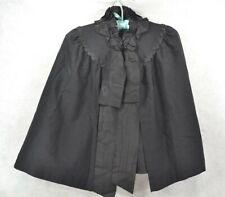 antique cape short black wool bead ruffled trim lined wearable 19th c original