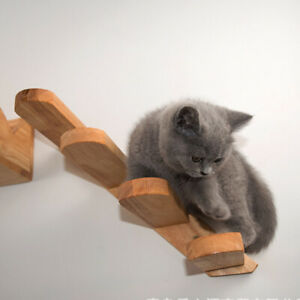 Wall Mounted Cat Toy Climbing Step Staircase Pet Solid Wood Home Easy Install