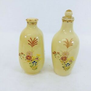 Jars Vases Lids 2 Different Shapes Florals Gold Gilding Hand Painted Hallmarked