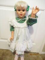 "35"" Vintage Uneeda 27 Walker Doll Sleepy Eyes Hard Plastic Vinyl Head + clothes"