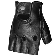 Men's Lambskin Leather Half Finger Unlined Motorcycle Driving Cycling Gloves