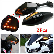 Motorcycle Rearview Side Mirrors W/LED Turn Signals Indicator For Honda Suzuki
