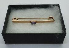 UNUSUAL ANTIQUE 9CT GOLD TIE PIN WITH PURPLE STONE